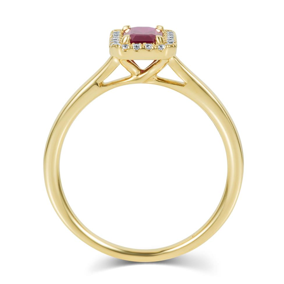 18ct Yellow Gold Emerald Cut Ruby and Diamond Halo Engagement Ring Thumbnail Image 3