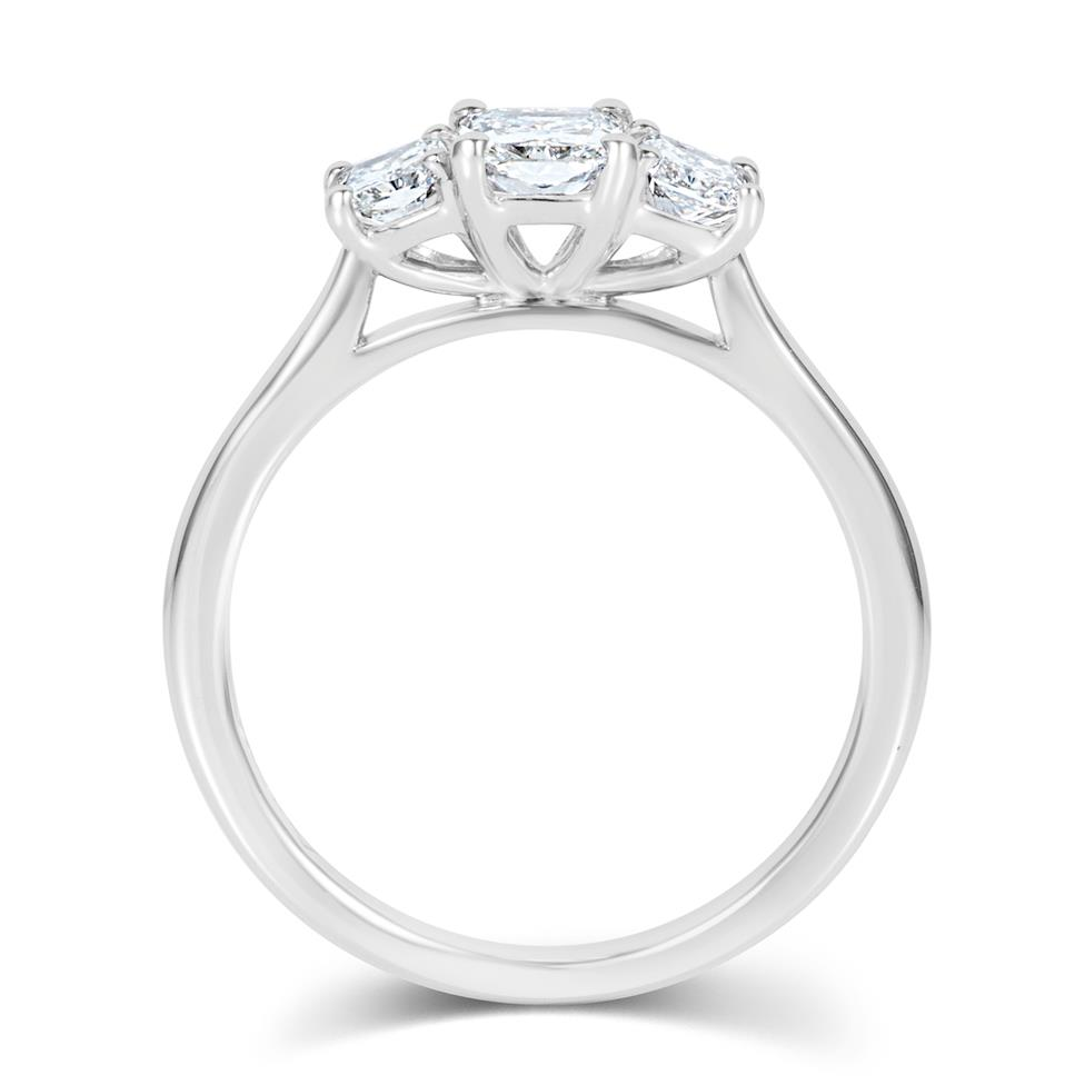 Platinum Radiant Cut Diamond Three Stone Engagement Ring 1.06ct Thumbnail Image 2