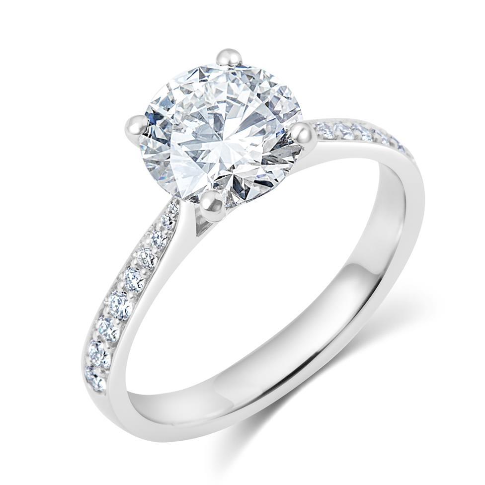 Platinum Diamond Solitaire Engagement Ring 1.63ct Thumbnail Image 0