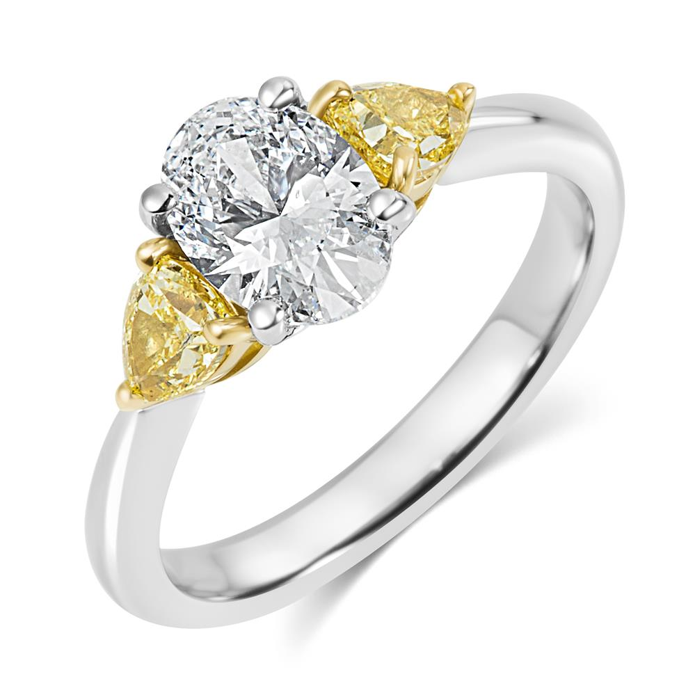 Platinum Oval and Yellow Fancy Cut Diamond Three Stone Engagement Ring 1.96ct Thumbnail Image 0