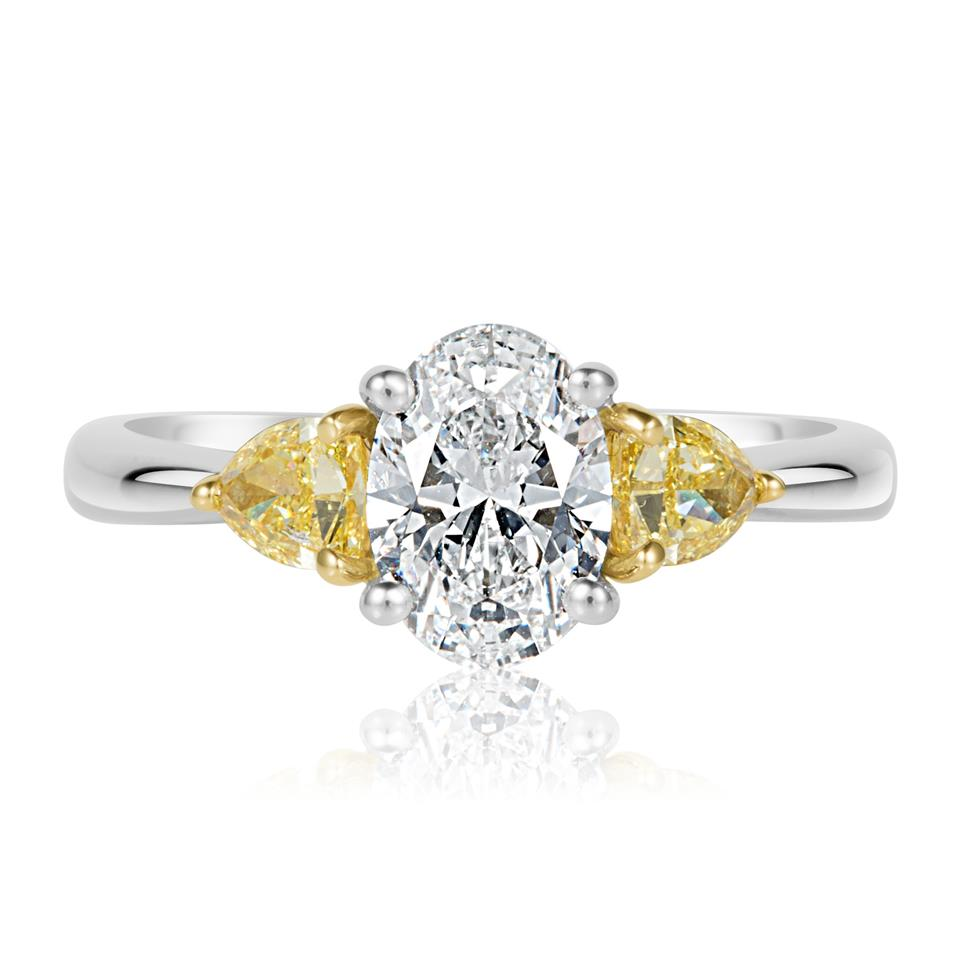 Platinum Oval and Yellow Fancy Cut Diamond Three Stone Engagement Ring 1.96ct Thumbnail Image 1