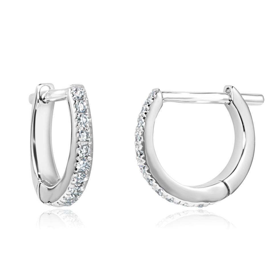 18ct White Gold Diamond Hoop Earrings 0.12ct Thumbnail Image 0
