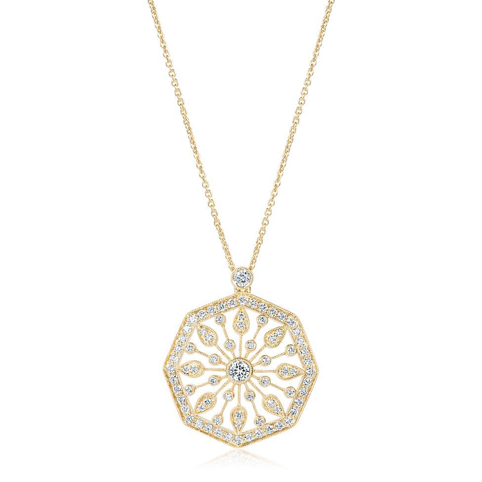 18ct Yellow Gold Disc Design Diamond Necklace 0.80ct Thumbnail Image 0