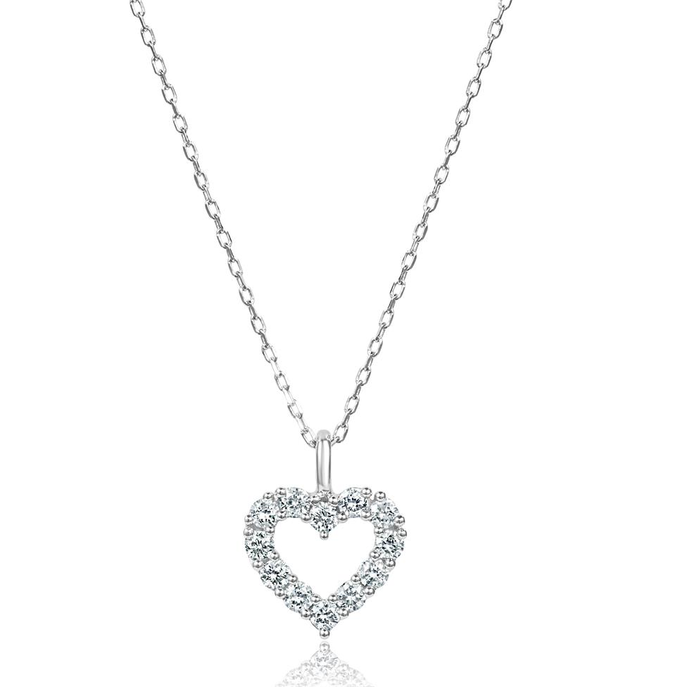 18ct White Gold Open Heart Design Diamond Necklace 0.16ct Image 1