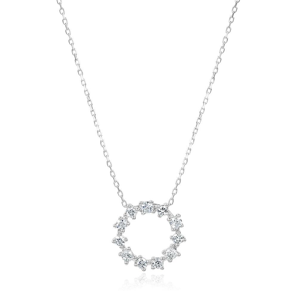 18ct White Gold Circle Design Diamond Necklace 0.16ct Thumbnail Image 0