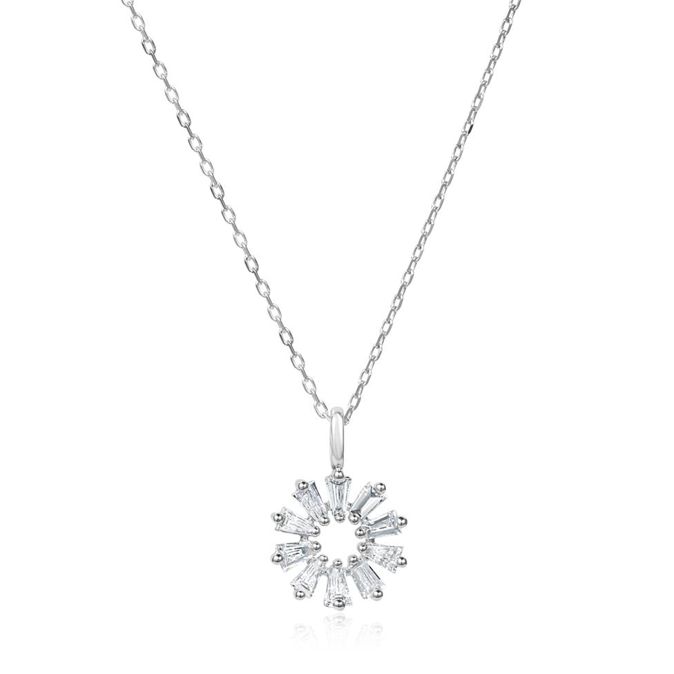 18ct White Gold Baguette Diamond Necklace 0.16ct Thumbnail Image 0