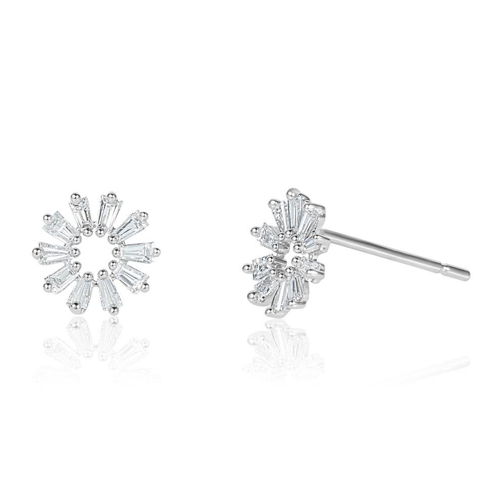18ct White Gold Baguette Cut Diamond Stud Earrings 0.28ct Thumbnail Image 0