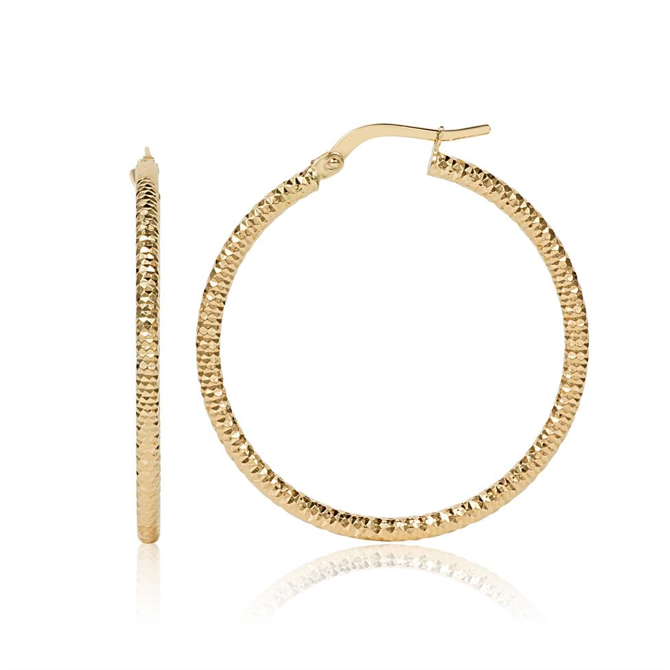 18ct Yellow Gold Facet Detail Hoop Earrings 30mm Thumbnail Image 0