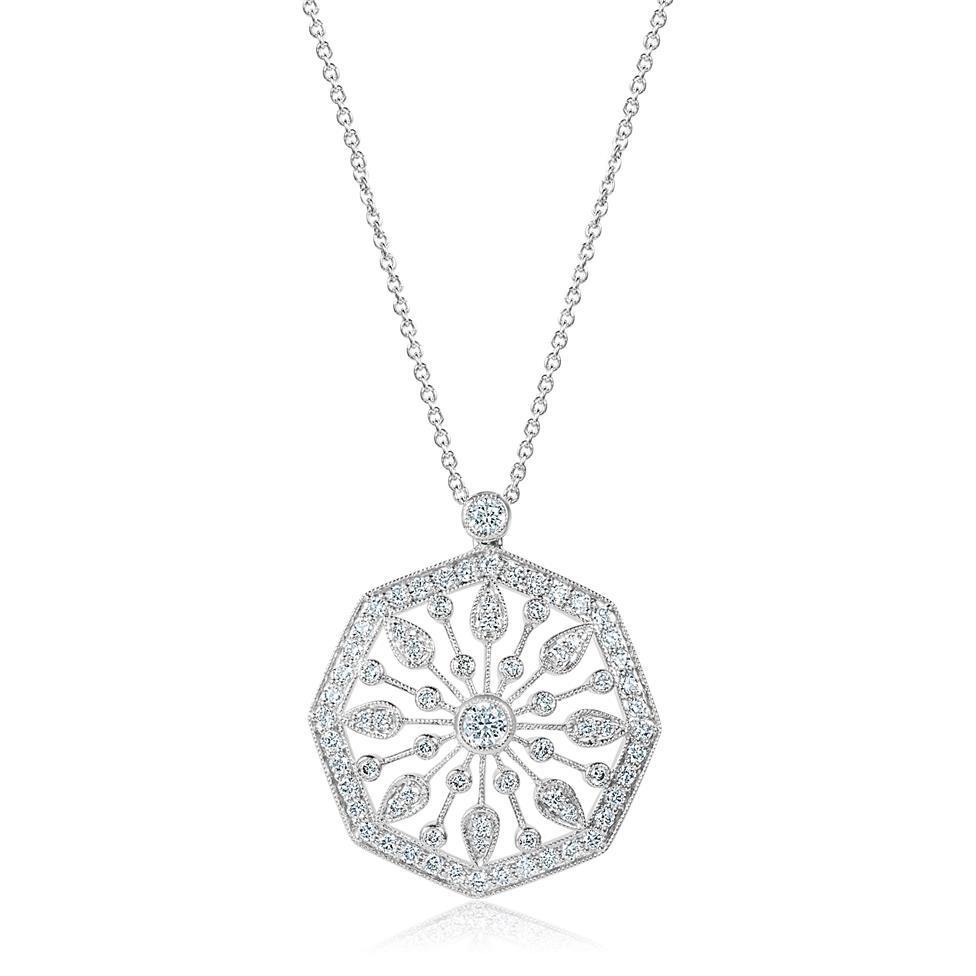18ct White Gold Disc Design Diamond Necklace 0.80ct Thumbnail Image 0