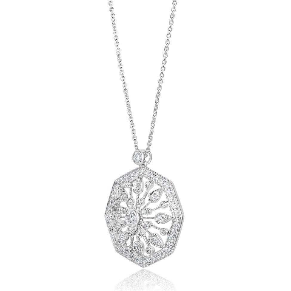 18ct White Gold Disc Design Diamond Necklace 0.80ct Thumbnail Image 2