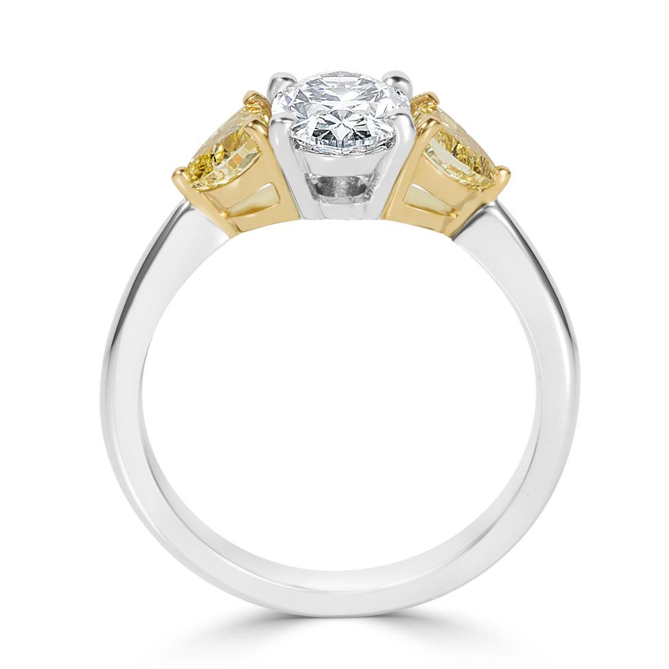 Platinum Oval and Yellow Fancy Cut Diamond Three Stone Engagement Ring 1.96ct Thumbnail Image 2
