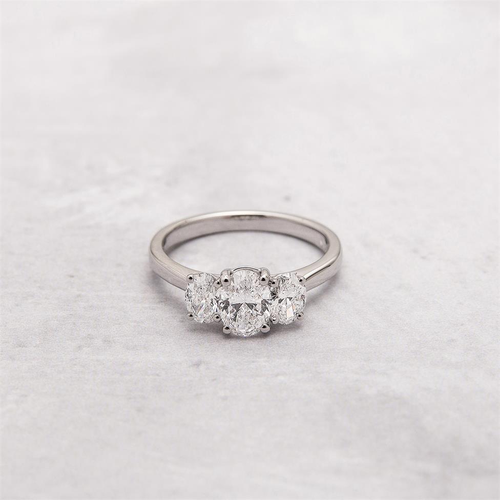 Platinum Oval Diamond Three Stone Engagement Ring 1.30ct Thumbnail Image 5