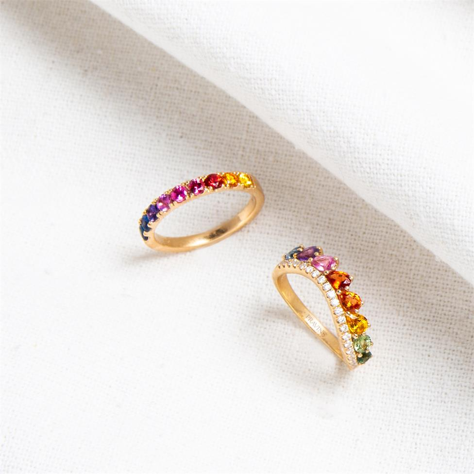 Samba 18ct Yellow Gold Rainbow Sapphire and Diamond Dress Ring Thumbnail Image 3