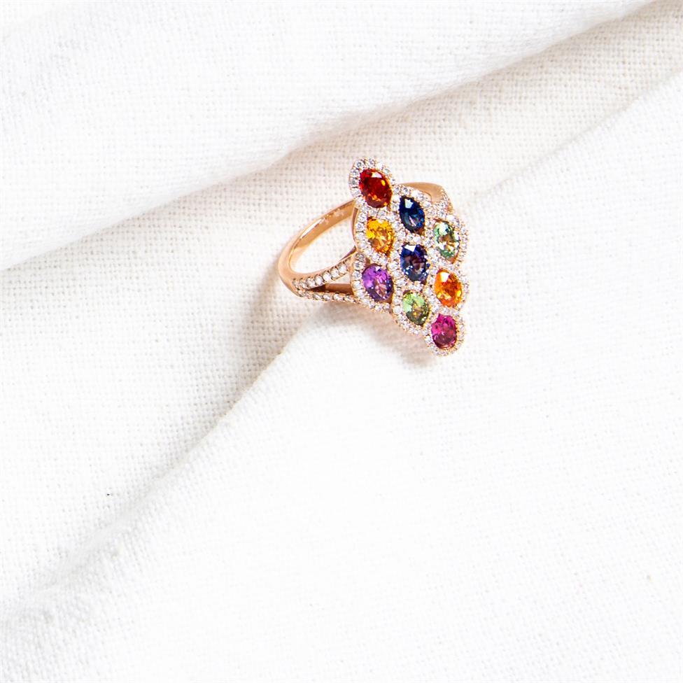 Samba 18ct Rose Gold Marquise Design Rainbow Sapphire and Diamond Dress Ring Thumbnail Image 4