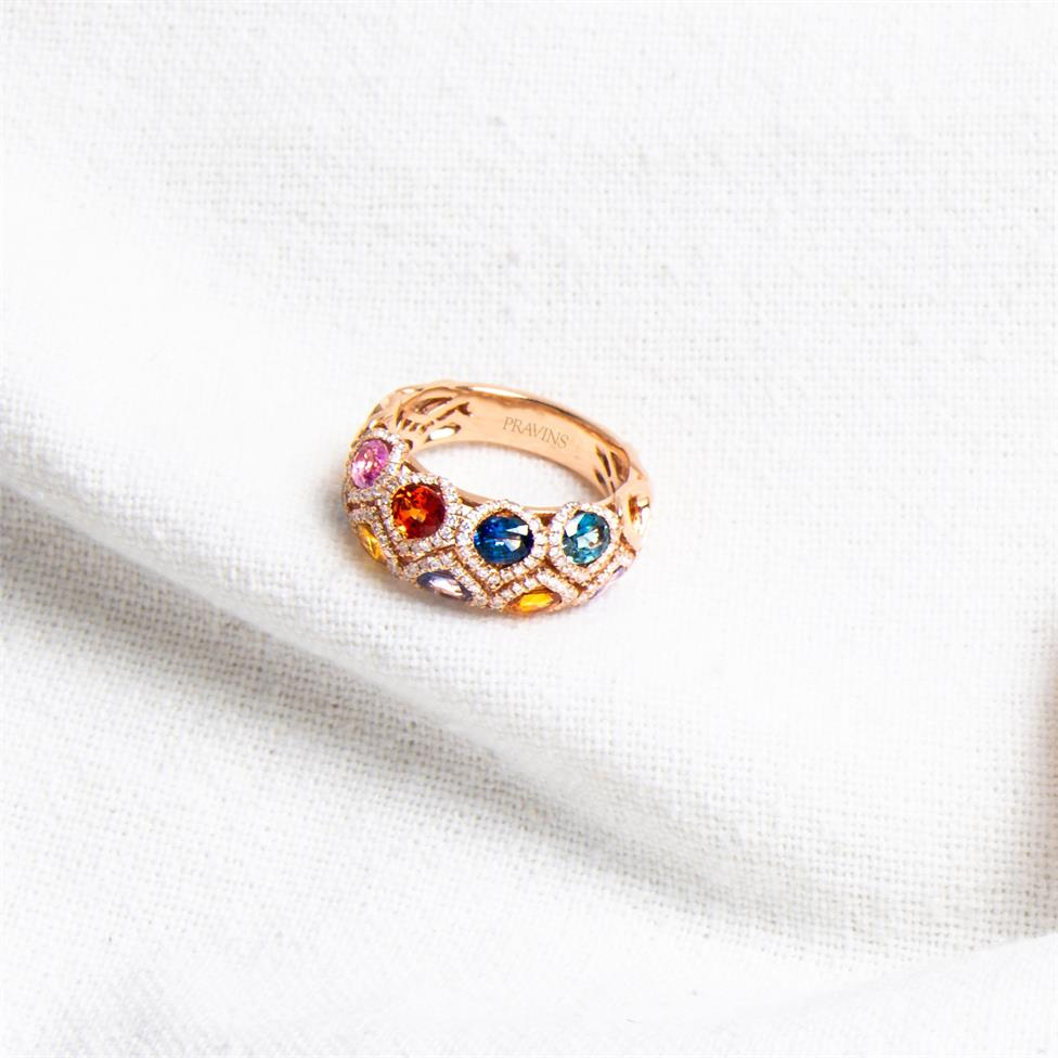 Samba 18ct Rose Gold Dome Design Rainbow Sapphire and Diamond Dress Ring Thumbnail Image 5