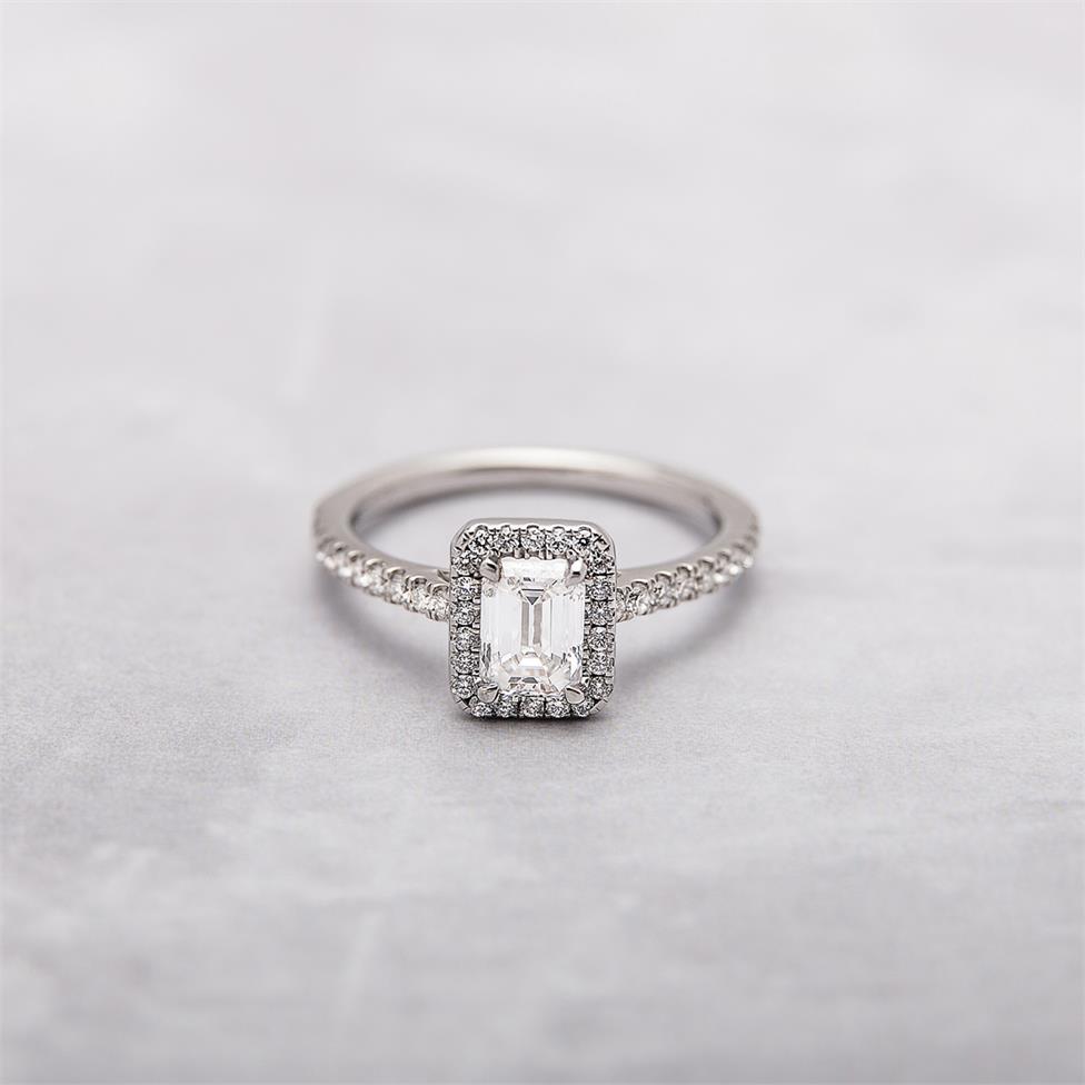Platinum Emerald Cut Diamond Halo Engagement Ring 0.70ct Thumbnail Image 3
