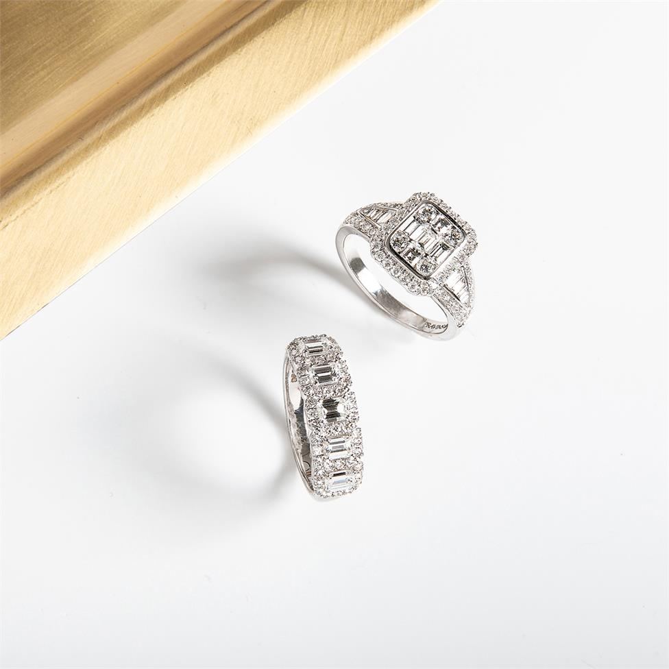 Odyssey 18ct White Gold Illusion Detail Diamond Cluster Dress Ring 1.60ct Thumbnail Image 3