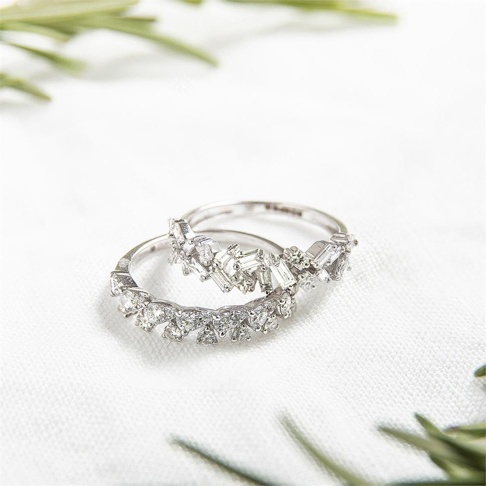 18ct White Gold Petal Design Diamond Dress Ring 0.50ct Thumbnail Image 3