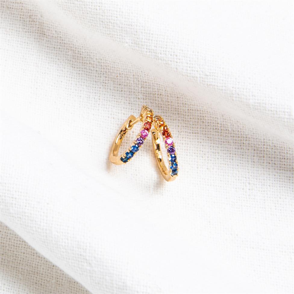 Samba 18ct Yellow Gold Rainbow Sapphire Hoop Earrings Thumbnail Image 2