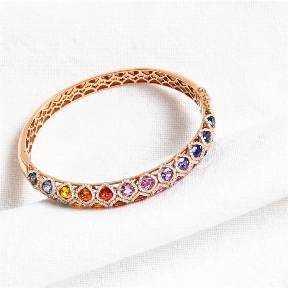 Samba 18ct Rose Gold Rainbow Sapphire and Diamond Bangle Thumbnail Image 1