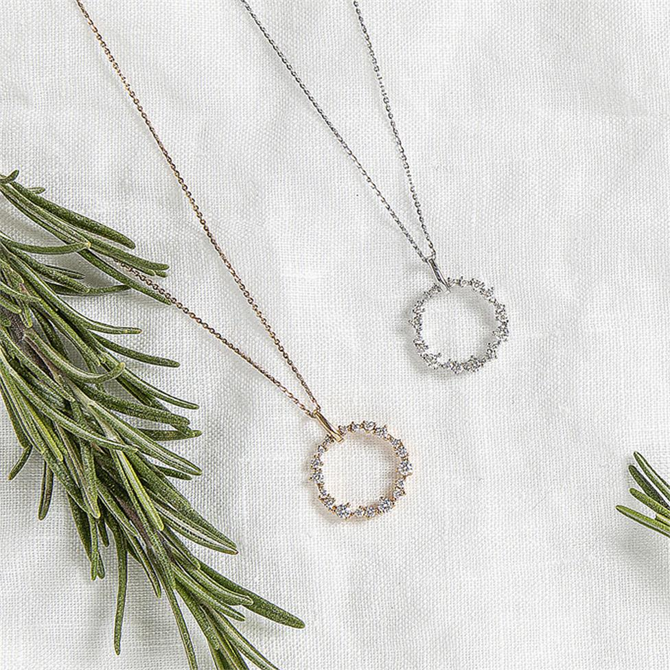 18ct Rose Gold Circle Design Diamond Pendant Thumbnail Image 1