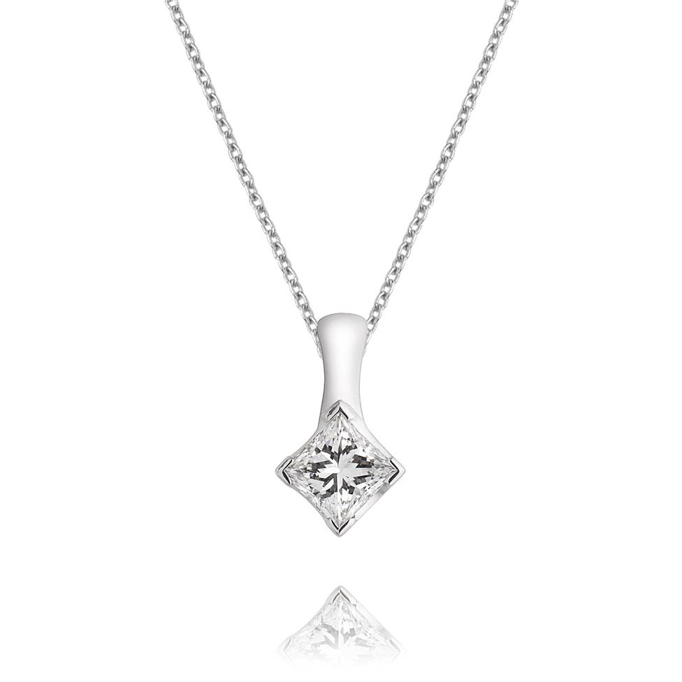 18ct White Gold Princess Cut Diamond Solitaire Pendant Image 1