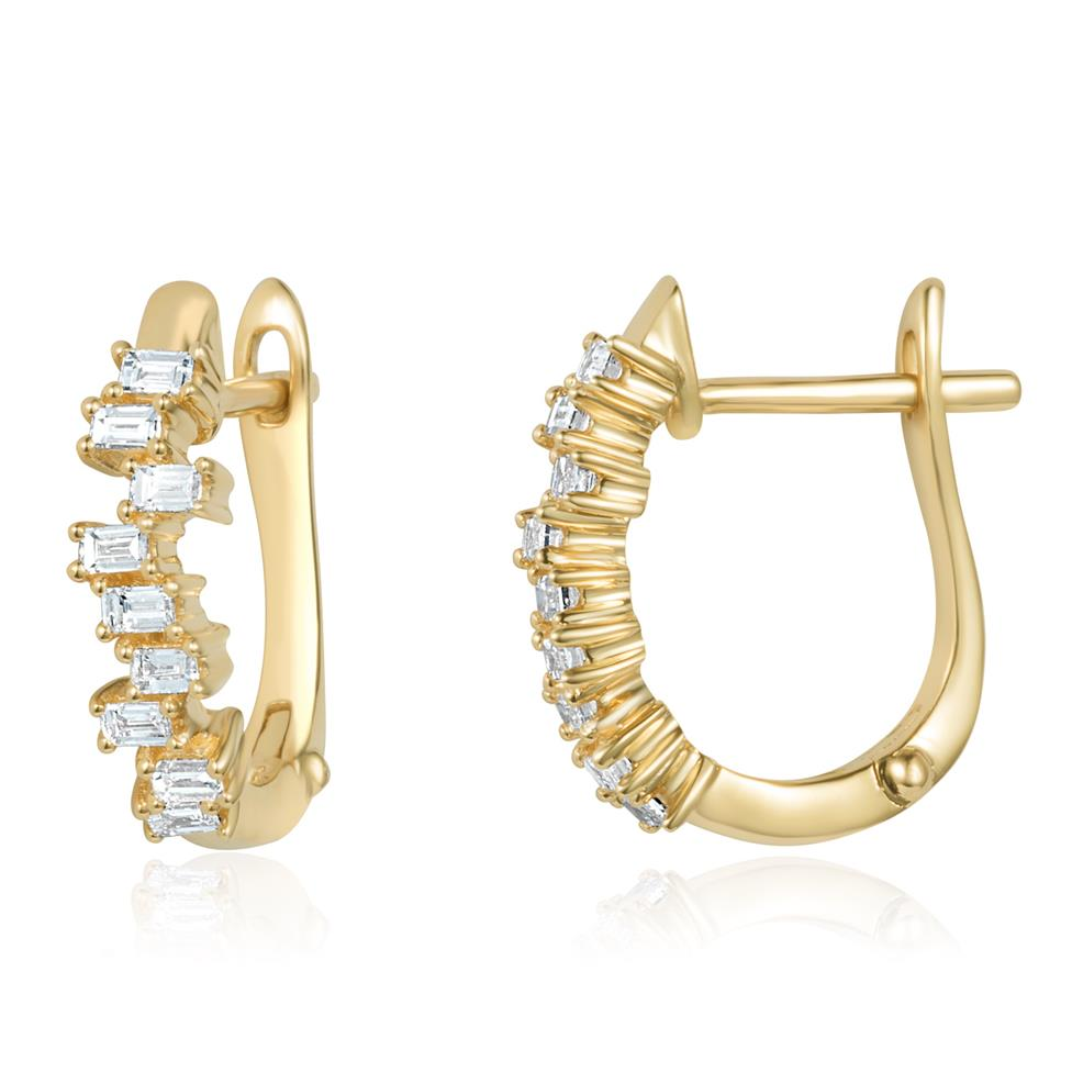 Stardust 18ct Yellow Gold Diamond Hoop Earrings Thumbnail Image 0