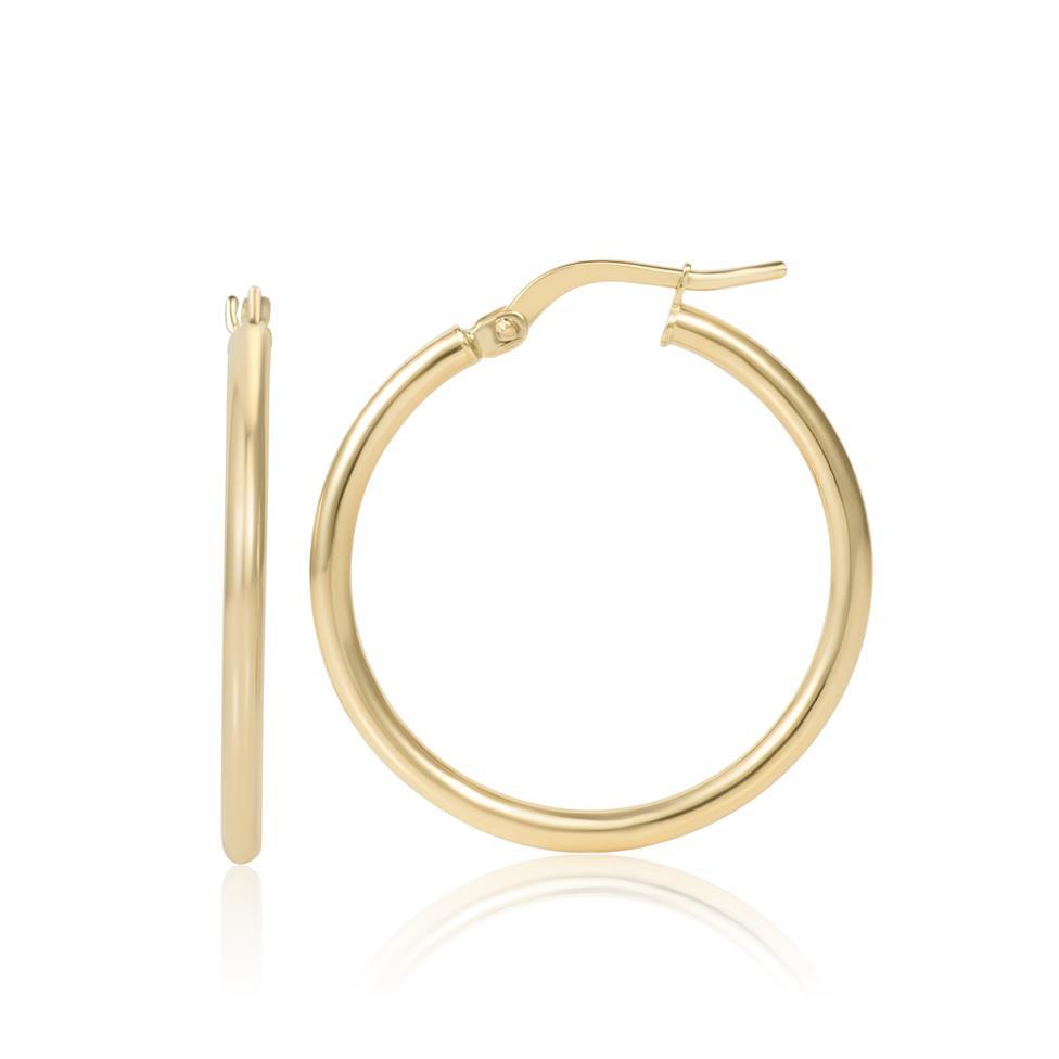 18ct Yellow Gold Hoop Earrings 25mm Thumbnail Image 0