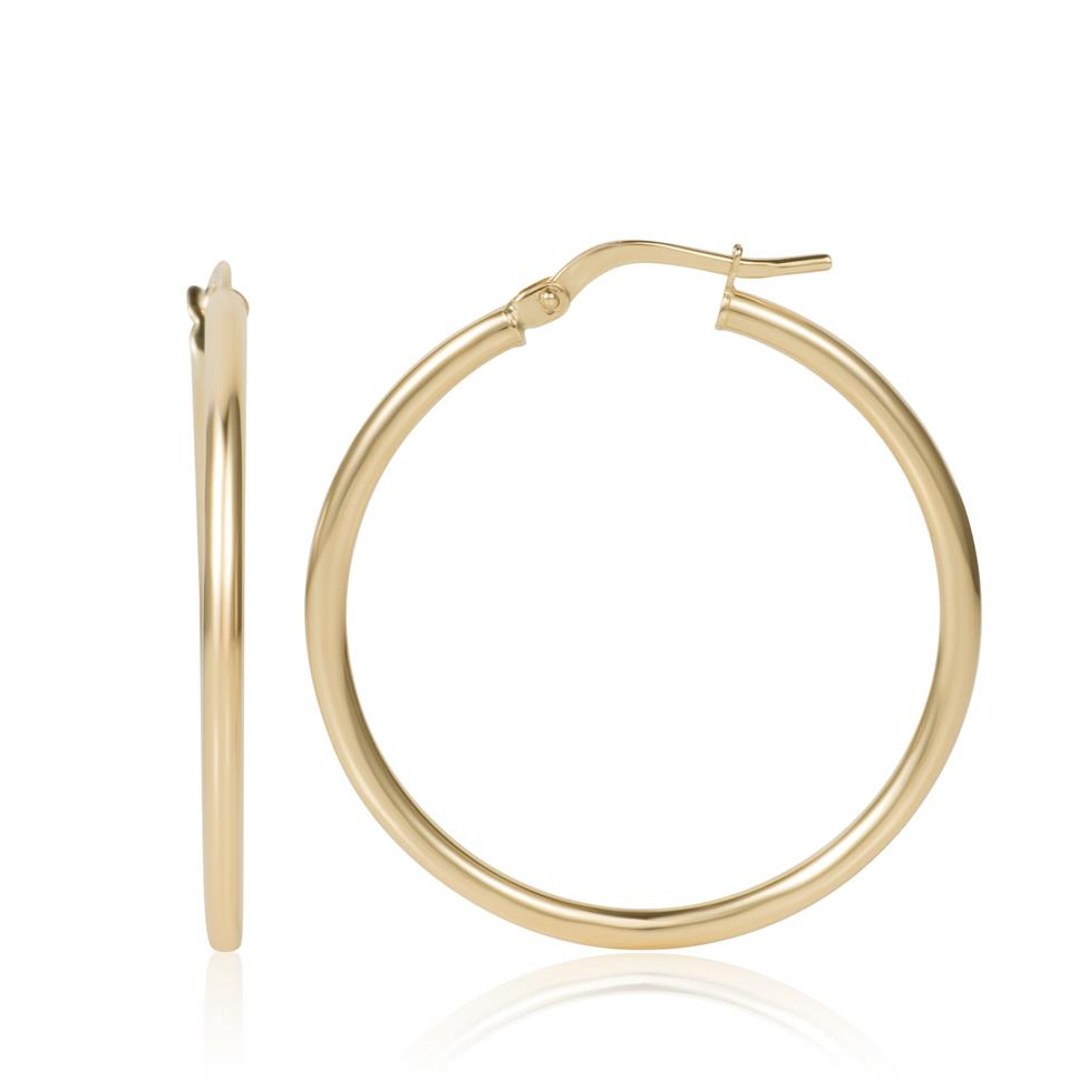 18ct Yellow Gold Hoop Earrings 30mm Thumbnail Image 0