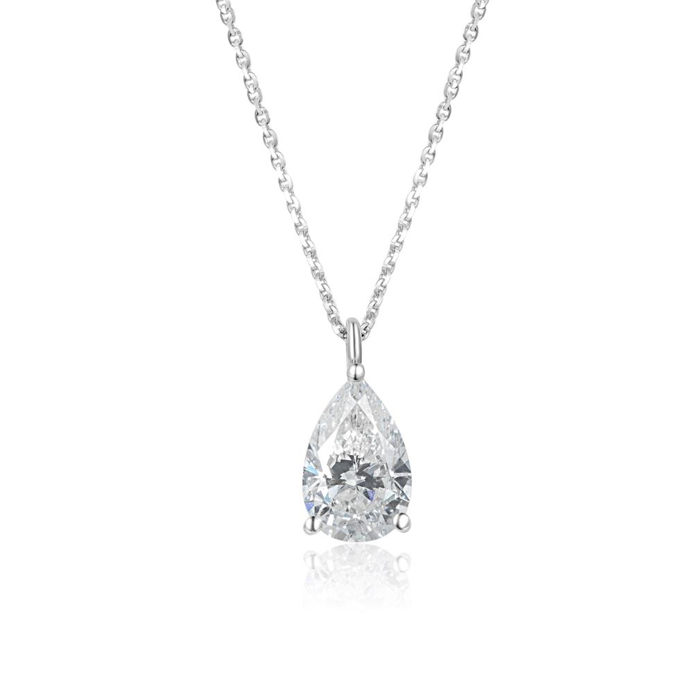 18ct White Gold Pear Shape Diamond Solitaire Necklace 1.03ct Thumbnail Image 0