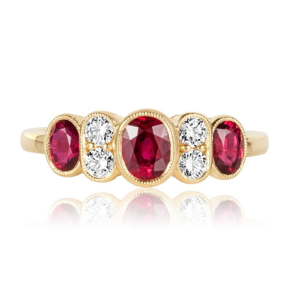 18ct Yellow Gold Milgrain Detail Ruby and Diamond Dress Ring Thumbnail Image 1