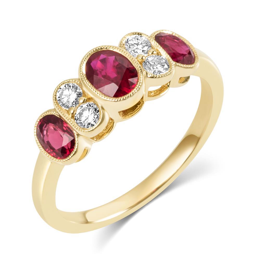 18ct Yellow Gold Milgrain Detail Ruby and Diamond Dress Ring Thumbnail Image 0