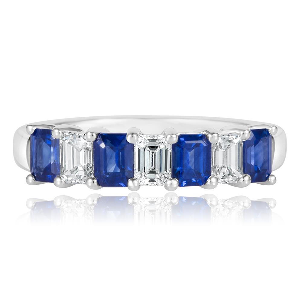 Platinum Emerald Cut Sapphire and Diamond Half Eternity Ring Thumbnail Image 2