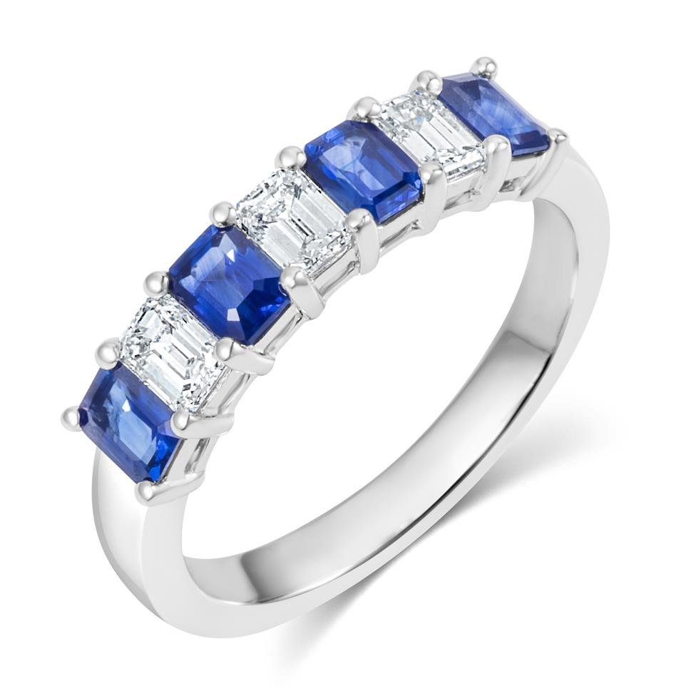 Platinum Emerald Cut Sapphire and Diamond Half Eternity Ring Thumbnail Image 0