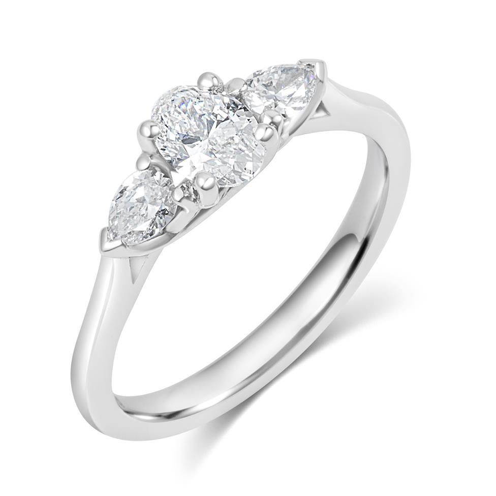 Platinum Oval and Pear Shape Diamond Three Stone Engagement Ring 0.76ct Thumbnail Image 0