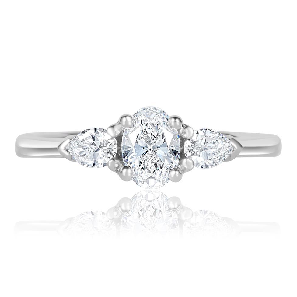 Platinum Oval and Pear Shape Diamond Three Stone Engagement Ring 0.76ct Thumbnail Image 1