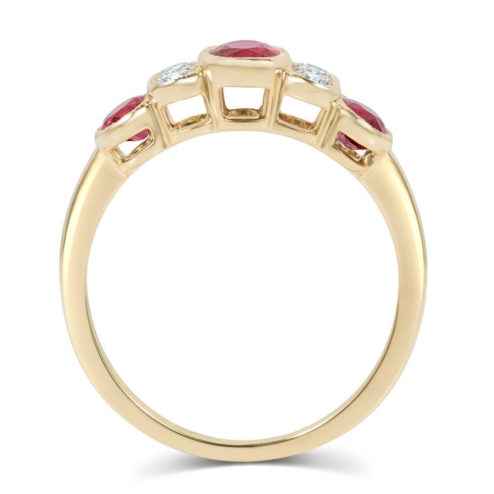 18ct Yellow Gold Milgrain Detail Ruby and Diamond Dress Ring Thumbnail Image 2