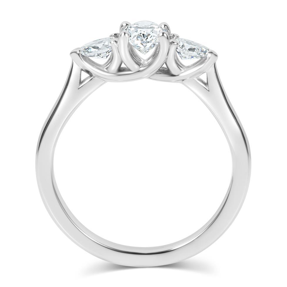 Platinum Oval and Pear Shape Diamond Three Stone Engagement Ring 0.76ct Thumbnail Image 2