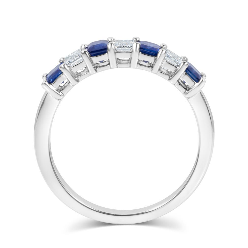 Platinum Emerald Cut Sapphire and Diamond Half Eternity Ring Thumbnail Image 3