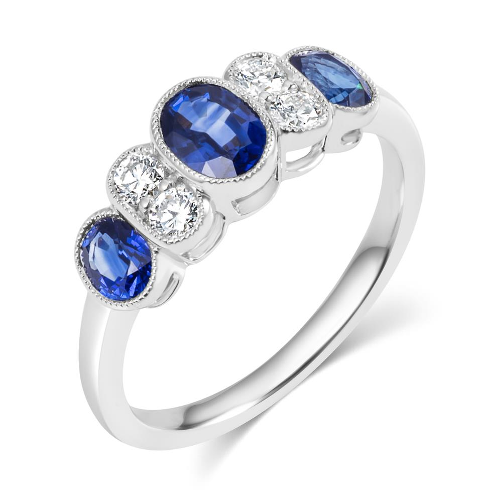 18ct White Gold Milgrain Detail Oval Sapphire and Diamond Dress Ring Thumbnail Image 0