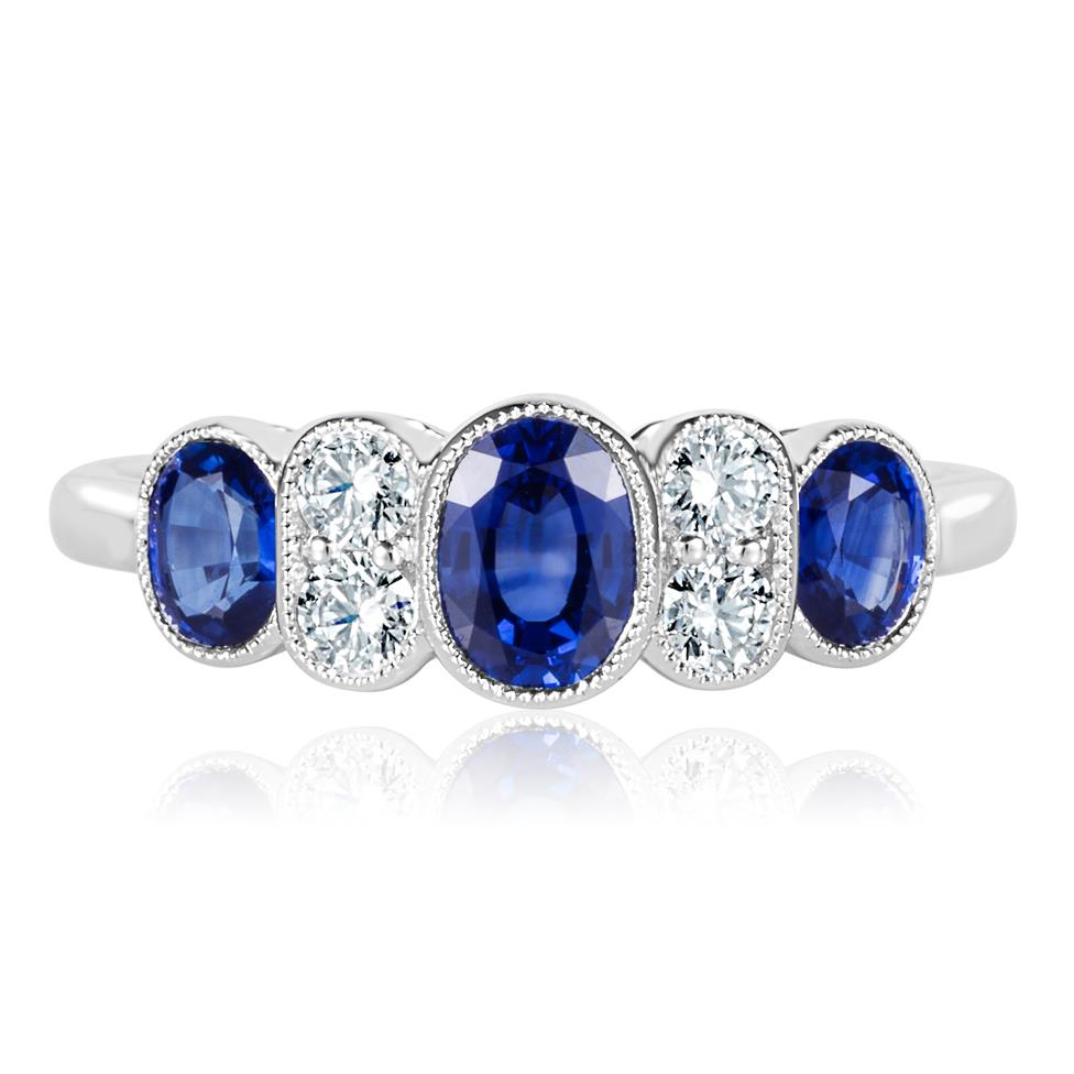18ct White Gold Milgrain Detail Oval Sapphire and Diamond Dress Ring Thumbnail Image 1