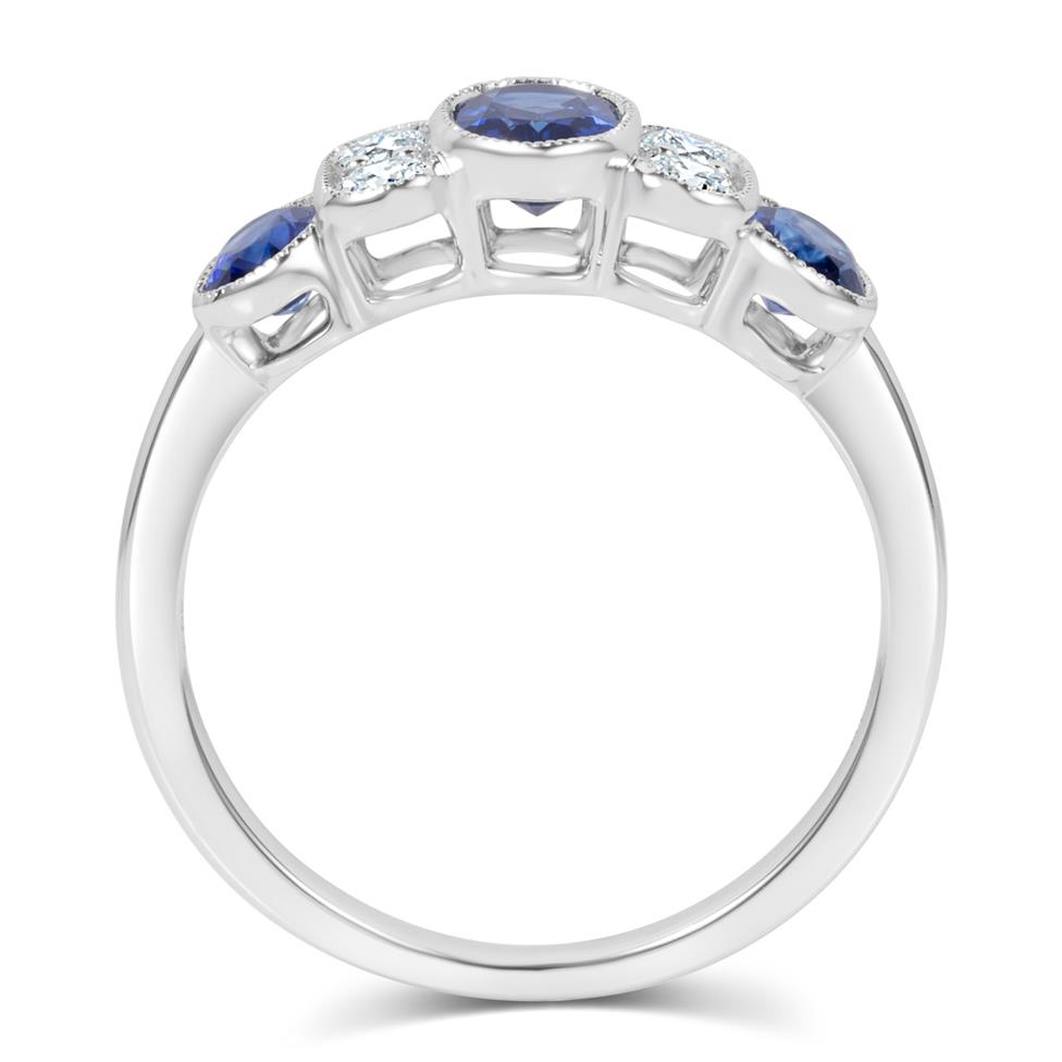 18ct White Gold Milgrain Detail Oval Sapphire and Diamond Dress Ring Thumbnail Image 2