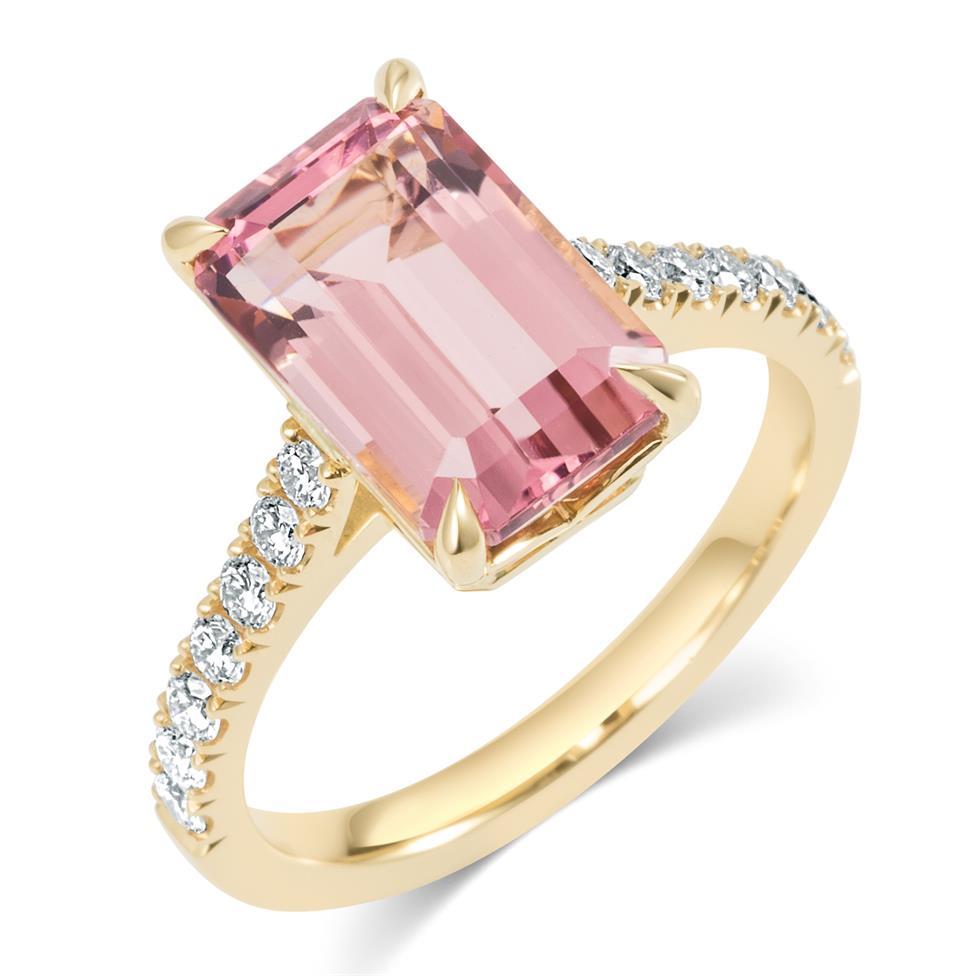 18ct Yellow Gold Emerald Cut Rose Tourmaline Dress Ring Thumbnail Image 0
