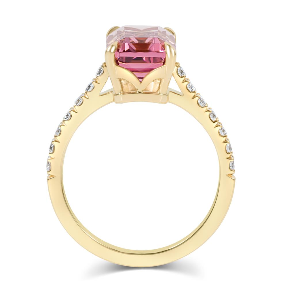 18ct Yellow Gold Emerald Cut Rose Tourmaline Dress Ring Thumbnail Image 3