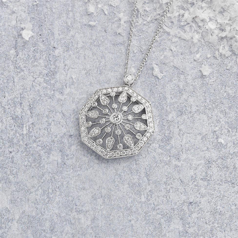 18ct White Gold Disc Design Diamond Necklace 0.80ct Thumbnail Image 1