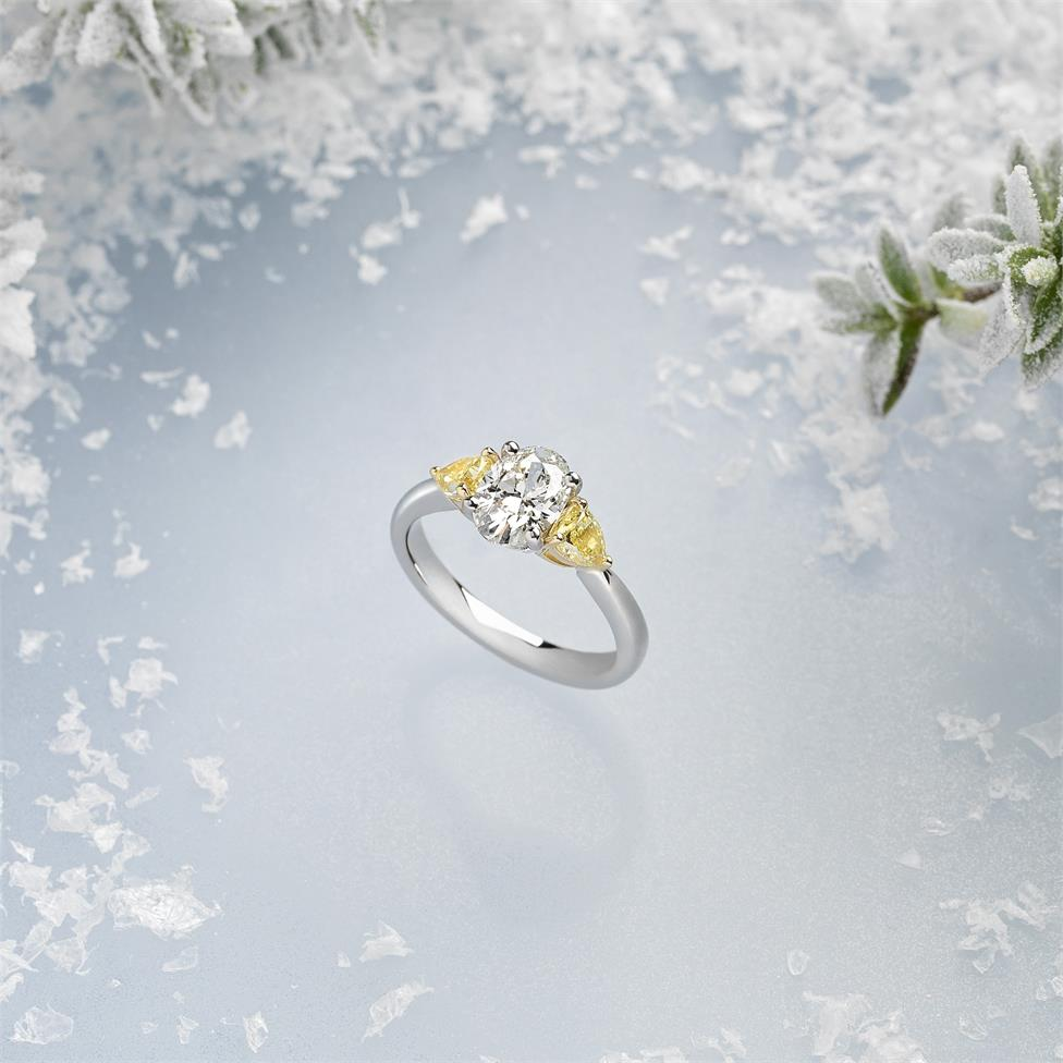 Platinum Oval and Yellow Fancy Cut Diamond Three Stone Engagement Ring 1.96ct Thumbnail Image 3