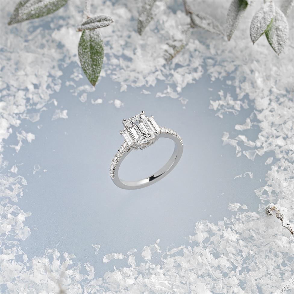Platinum Emerald Cut Diamond Three Stone Engagement Ring 2.31ct Thumbnail Image 1