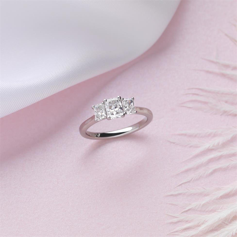 Platinum Radiant Cut Diamond Three Stone Engagement Ring 1.06ct Thumbnail Image 3