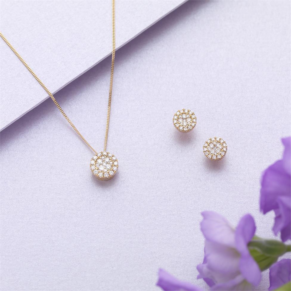 Adore 18ct Yellow Gold Diamond Stud Earrings Thumbnail Image 1