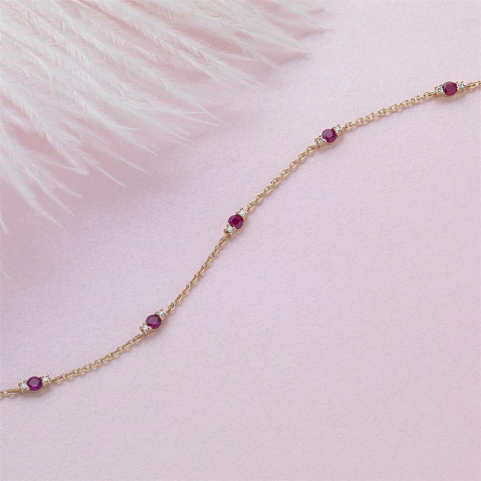 18ct Yellow Gold Ruby and Diamond Station Bracelet Thumbnail Image 1